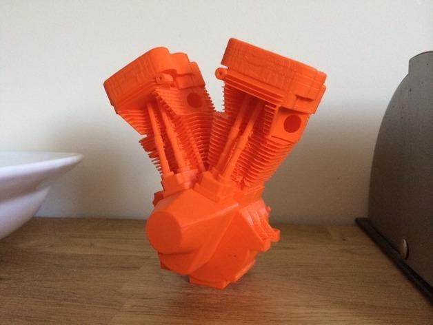 双缸引擎 3D打印模型渲染图
