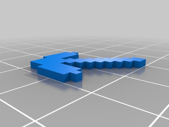 我的世界 鹤嘴锄 3D打印模型渲染图