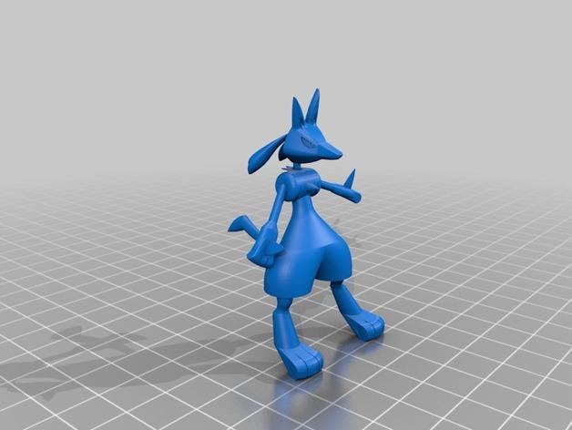 路卡利欧 3D打印模型渲染图