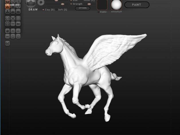 帕加索斯飞马 3D打印模型渲染图