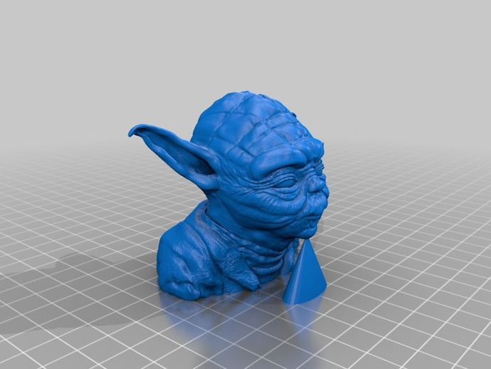 尤达大师雕塑 3D打印模型渲染图
