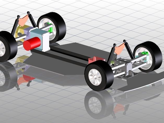 遥控车底盘 3D打印模型渲染图