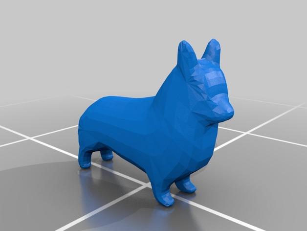 柯基犬  3D打印模型渲染图