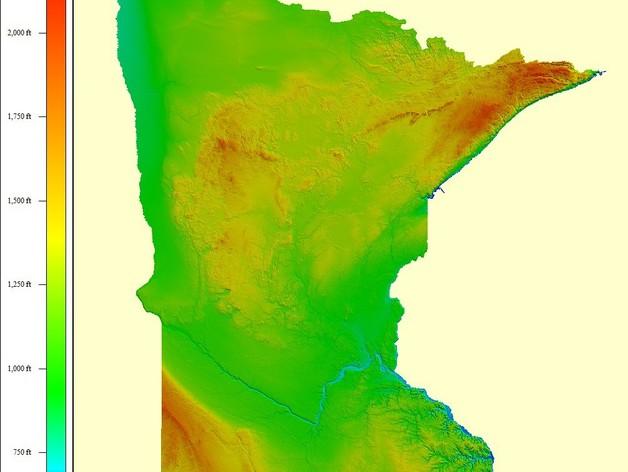 明尼苏达州地形图
