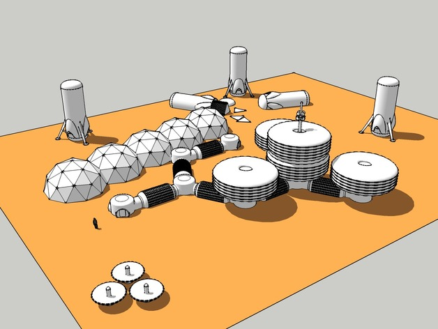模块化月球基地 3D打印模型渲染图