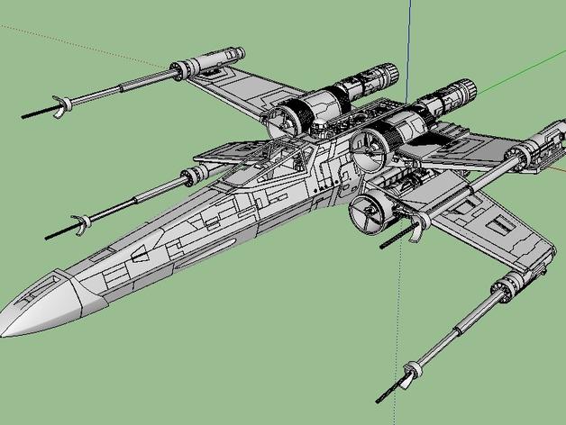 X翼战斗机  3D打印模型渲染图
