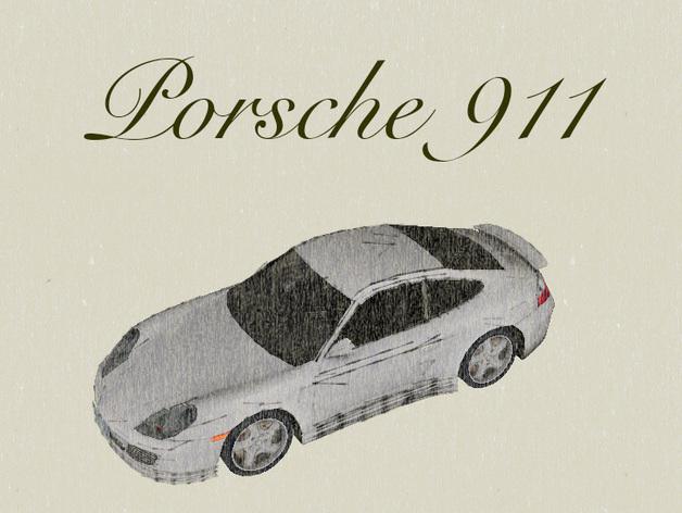 保时捷911汽车 3D打印模型渲染图