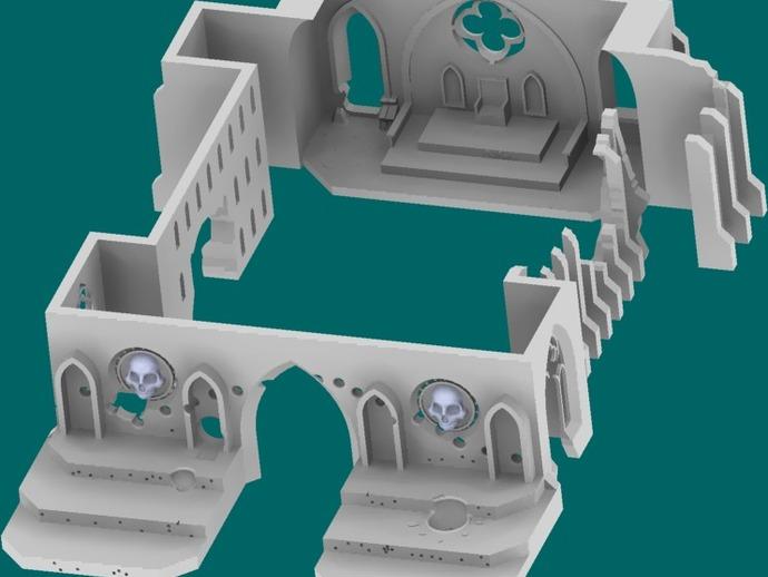 教堂废墟模型