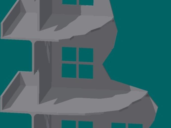 双层楼废墟模型 3D打印模型渲染图