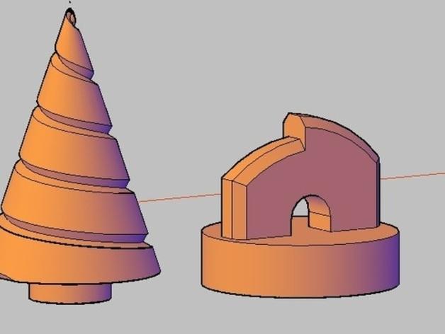 锥形螺旋钻 3D打印模型渲染图