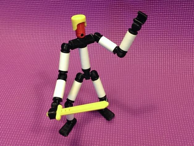 手脚可动的机器人 3D打印模型渲染图