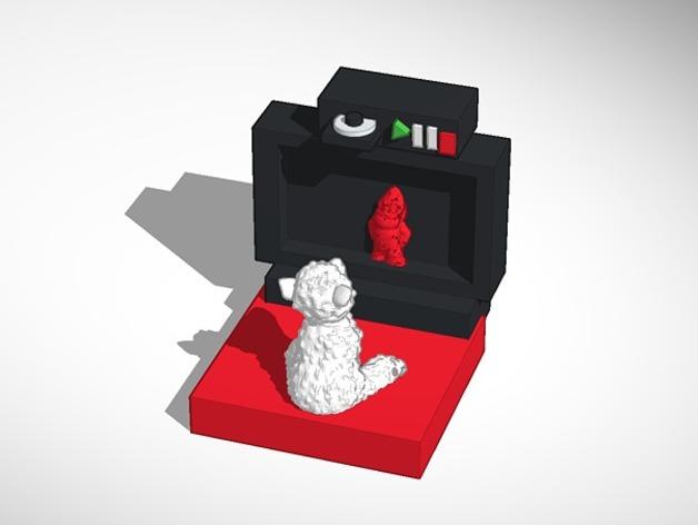 看电视的小羊 3D打印模型渲染图