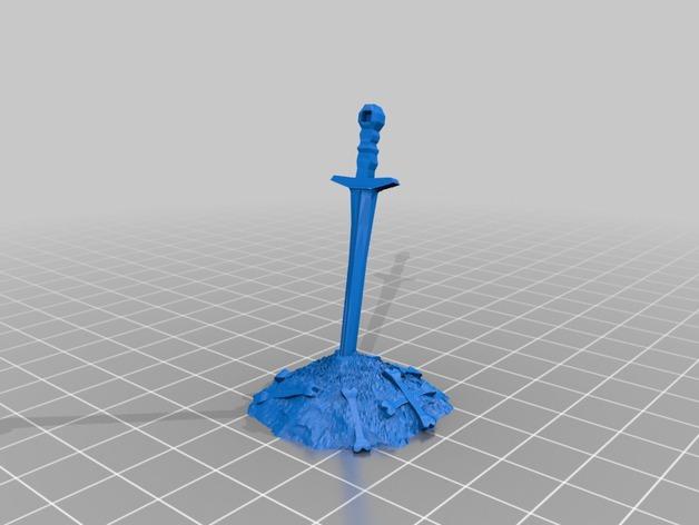黑暗之魂  Bonfire短剑 3D打印模型渲染图