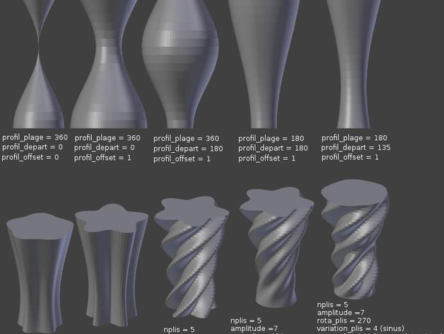 正弦和余弦曲线花瓶 3D打印模型渲染图