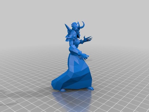 魔兽争霸 亡灵女战士 3D打印模型渲染图