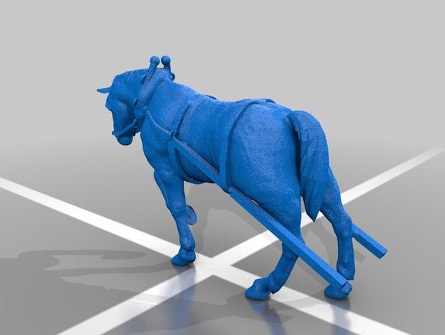 耕地的马 3D打印模型渲染图