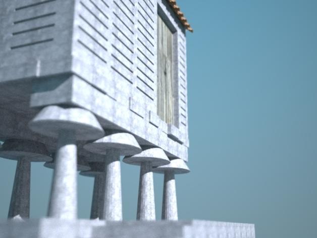 储粮仓 3D打印模型渲染图