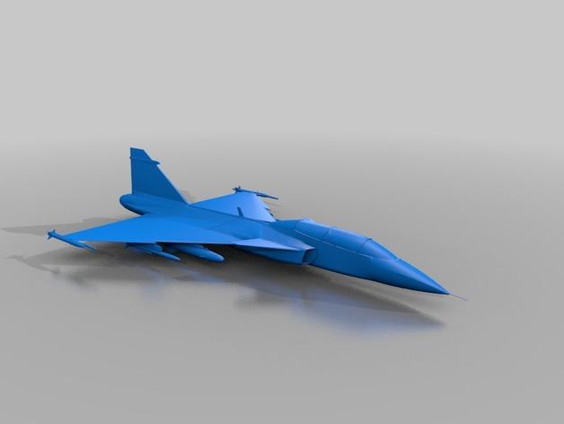 JAS 39鹰狮战斗机 3D打印模型渲染图