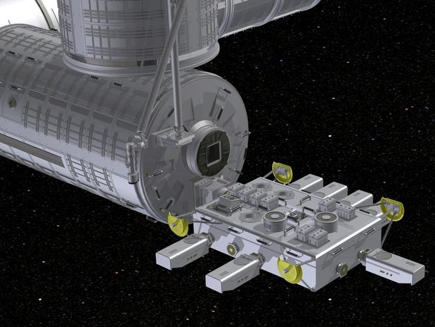 国际空间站 通信卫星  3D打印模型渲染图