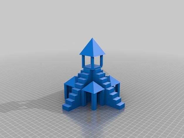 寺庙 3D打印模型渲染图
