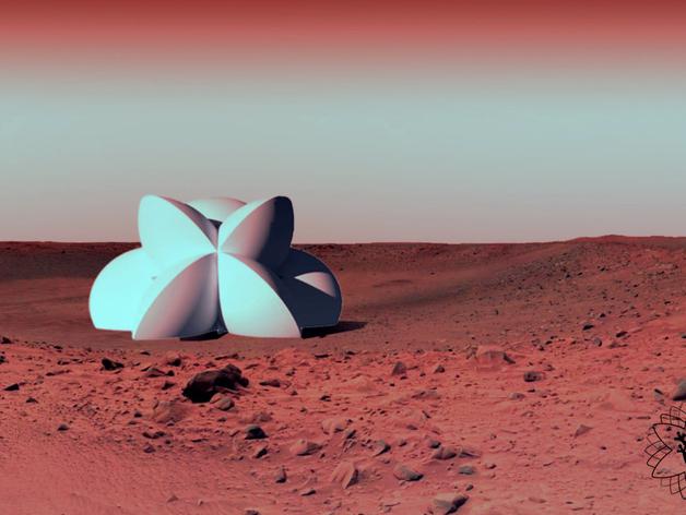 花形火星基地 3D打印模型渲染图