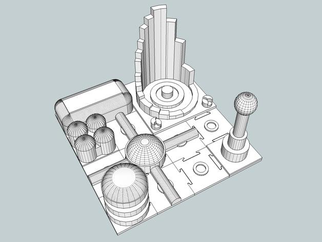 火星建筑 火星基地 3D打印模型渲染图