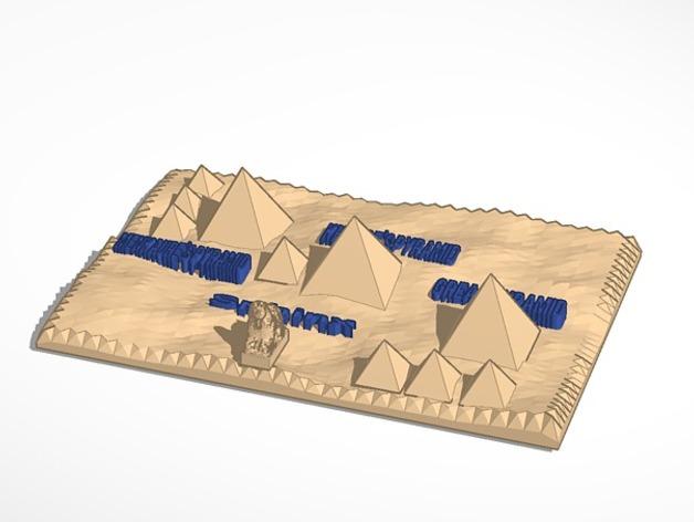吉萨金字塔3D地图 3D打印模型渲染图