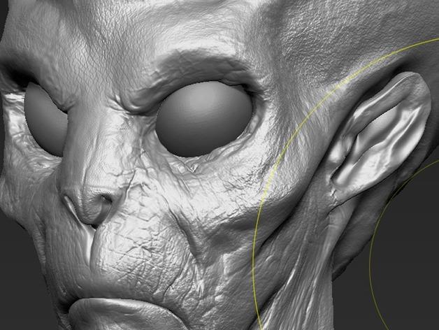 外星人头部模型 3D打印模型渲染图