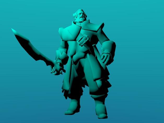 刀塔传奇Kunkka船长 3D打印模型渲染图