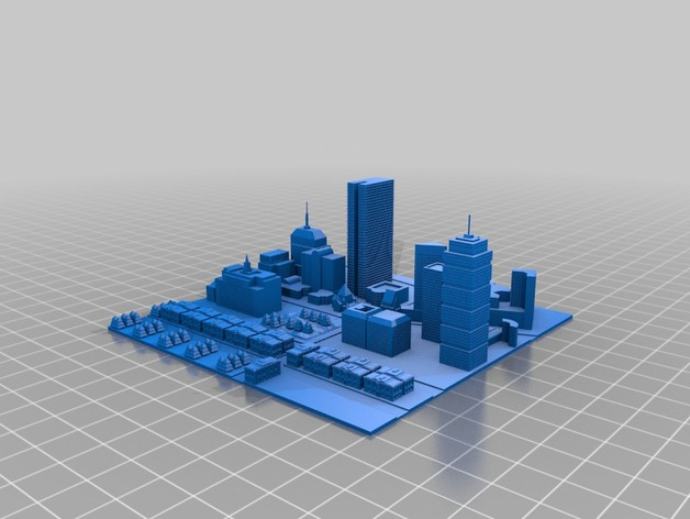 波士顿城市建筑群模型 3D打印模型渲染图