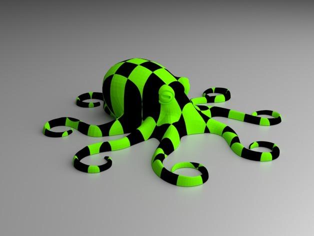 格纹双色章鱼 3D打印模型渲染图