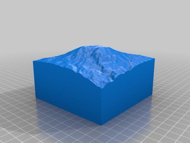 乞力马扎罗山地形模型 3D打印模型渲染图
