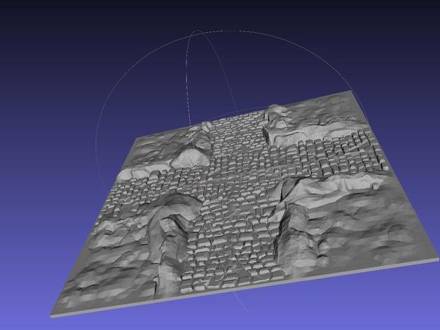 十字路口地形图 3D打印模型渲染图