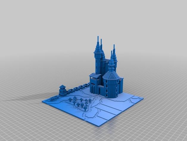 我的世界城堡 3D打印模型渲染图