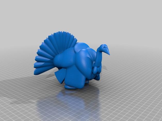 火鸡 3D打印模型渲染图