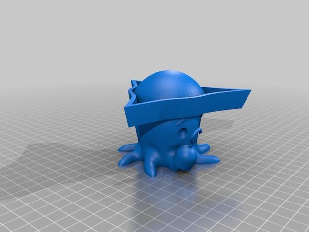可爱的章鱼 3D打印模型渲染图