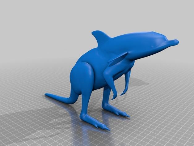 袋鼠海豚 3D打印模型渲染图