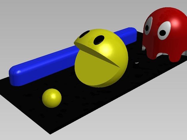 吃豆人和小幽灵 3D打印模型渲染图