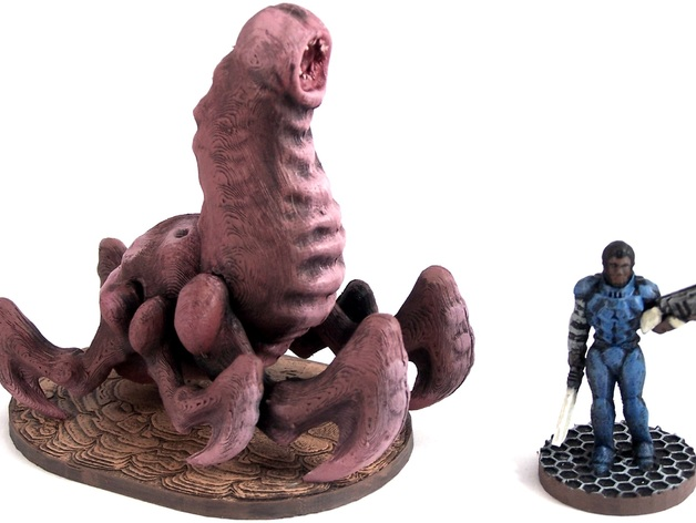 Cave Worm游戏造型 3D打印模型渲染图