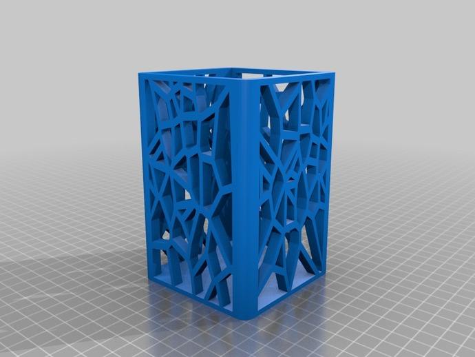 镂空笔筒 3D打印模型渲染图