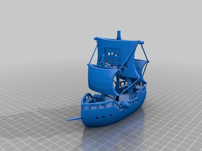海盗船 帆船 3D打印模型渲染图