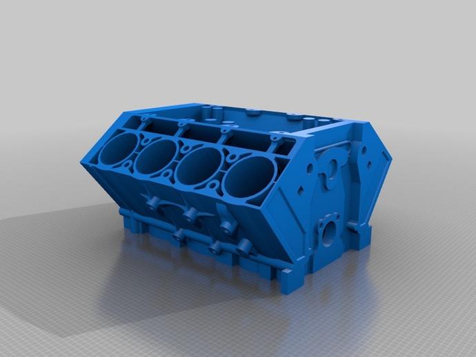 V8 发动机 3D打印模型渲染图