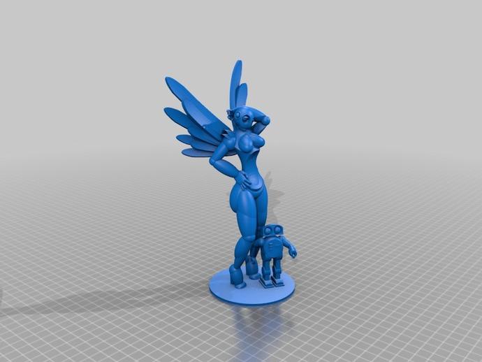 机器人女孩 3D打印模型渲染图