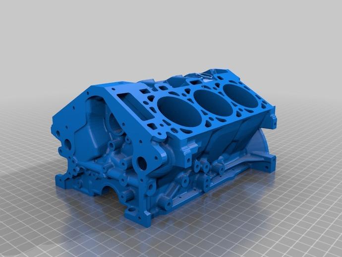 福特发动机缸体 3D打印模型渲染图