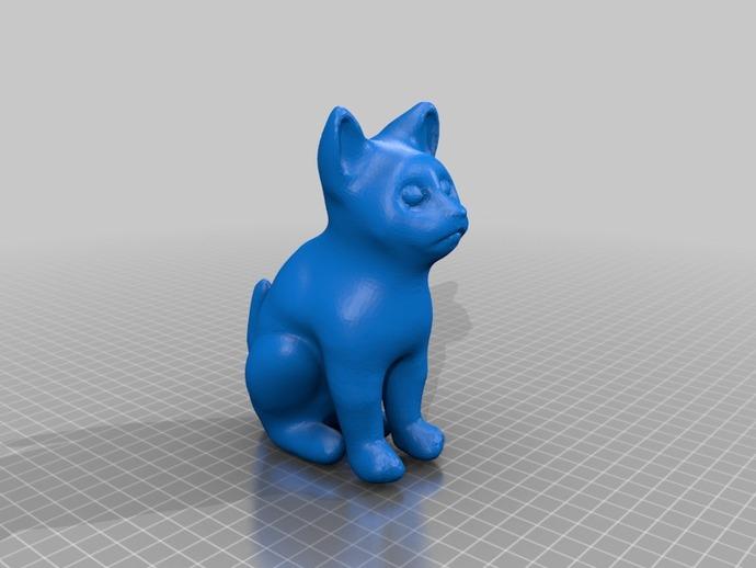 小猫 3D打印模型渲染图