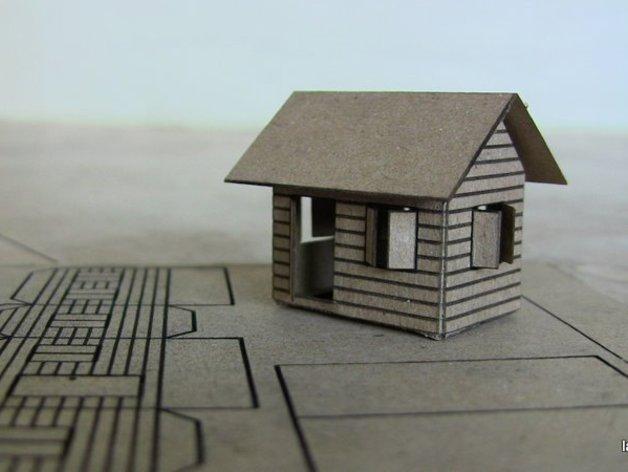 纸板房屋 3D打印模型渲染图