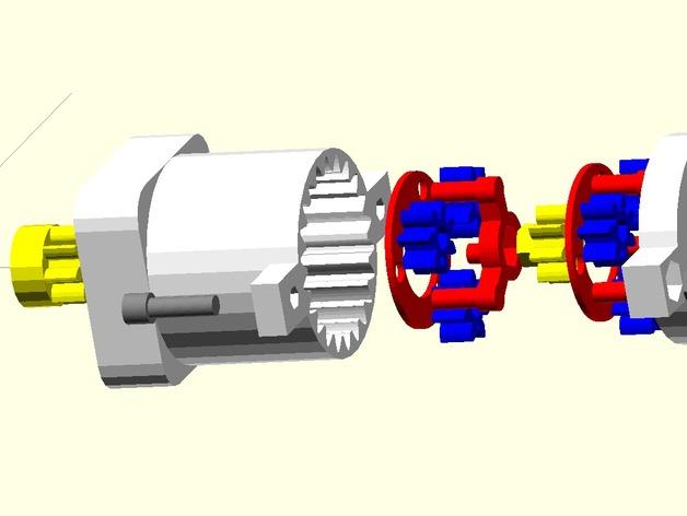 参数化行星齿轮箱 3D打印模型渲染图