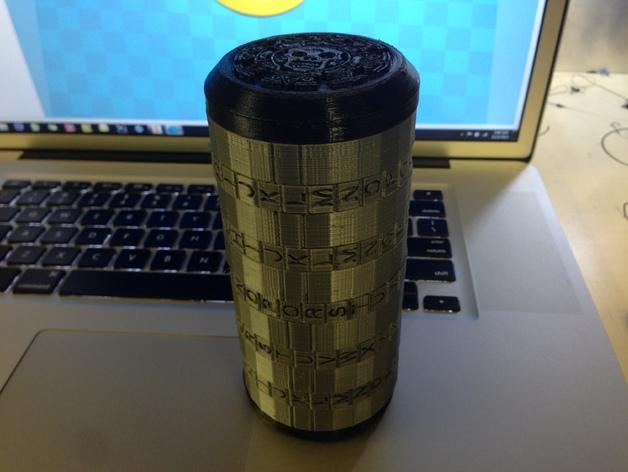 加勒比海盗密码筒端盖  3D打印模型渲染图