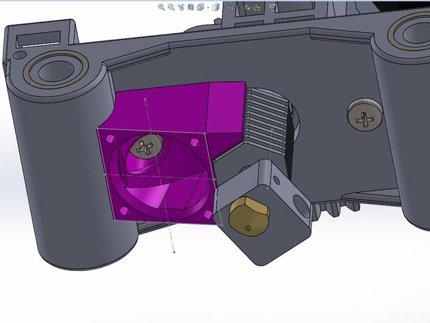 六边形锡槽热端风扇座 3D打印模型渲染图