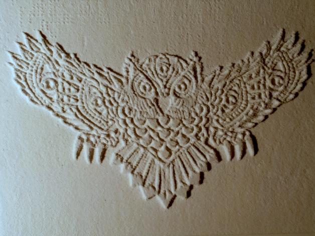 光刻 猫头鹰 3D打印模型渲染图